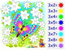 Hoja de trabajo con los ejercicios para los niños con la multiplicación por tres Imágenes de archivo libres de regalías
