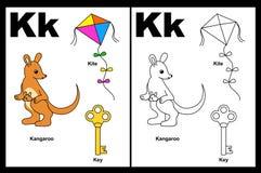 Hoja de trabajo de la letra K Imágenes de archivo libres de regalías