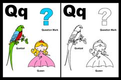 Hoja de trabajo de la letra Q Foto de archivo libre de regalías