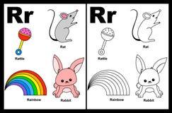 Hoja de trabajo de la letra R Imagenes de archivo