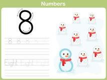 Hoja de trabajo de trazado del número: Escritura de 0-9 stock de ilustración