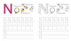 Hoja de trabajo de trazado para la letra N Imagen de archivo