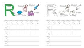 Hoja de trabajo de trazado para la letra R imágenes de archivo libres de regalías