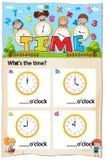 Hoja de trabajo del capítulo del tiempo de las matemáticas stock de ilustración