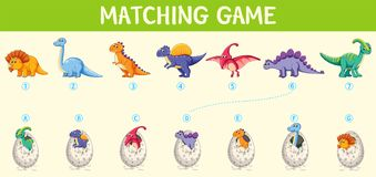 Hoja de trabajo a juego del número del dinosaurio libre illustration