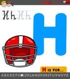 Hoja de trabajo de la letra H con el casco de la historieta ilustración del vector