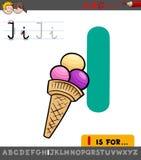 Hoja de trabajo de la letra I con helado de la historieta stock de ilustración