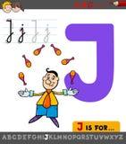 Hoja de trabajo de la letra J con el juglar de la historieta stock de ilustración
