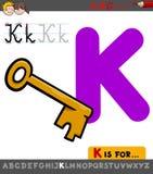 Hoja de trabajo de la letra K con llave de la historieta ilustración del vector