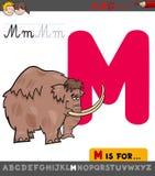 Hoja de trabajo de la letra M con el mamut de la historieta libre illustration
