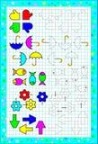 Hoja de trabajo para los pequeños niños en un papel cuadrado Rompecabezas de la lógica Necesidad de pintar correctamente las figu stock de ilustración