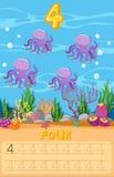 Hoja de trabajo subacuática de cuatro pulpos stock de ilustración
