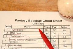 Hoja de tramposo del bosquejo del béisbol de la fantasía Imágenes de archivo libres de regalías