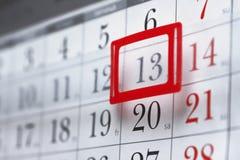 Hoja de un calendario de pared Imagen de archivo libre de regalías