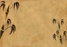 Hoja de un papel de arroz viejo con la figura de un bambo stock de ilustración
