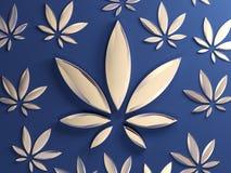 Hoja del cáñamo en fondo azul Hoja de cristal de oro de la marijuana E ilustración del vector