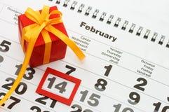 Hoja del calendario de pared - tarjetas del día de San Valentín Imagen de archivo libre de regalías