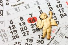 Hoja del calendario de pared - tarjetas del día de San Valentín Imágenes de archivo libres de regalías