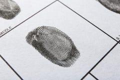 Hoja del expediente de la huella dactilar, opinión del primer imagenes de archivo