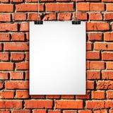 Hoja del Libro Blanco en la pared de ladrillo Fondo del vector Fotos de archivo libres de regalías