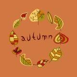 Hoja del otoño, sistema en la ronda Fotos de archivo libres de regalías