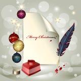 Hoja del papel, de las bolas de la Navidad, del crisol de la tinta y de un fea stock de ilustración