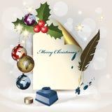 Hoja del papel, de los globos de la Navidad, del crisol de la tinta y de un FE ilustración del vector