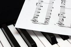 Hoja del papel de música que miente en llaves del piano del th Foto de archivo libre de regalías