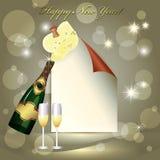 Hoja del papel, del vidrio y de dos vidrios del champán. ilustración del vector