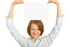 Hoja del papel sobre su cabeza Imagenes de archivo