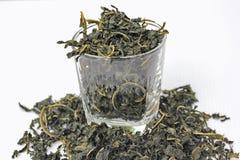 Hoja del té y del vidrio Foto de archivo