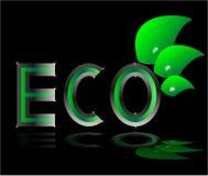 Hoja del verde de la insignia de la ecología de Eco Imagenes de archivo