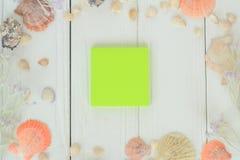 Hoja en blanco y conchas marinas verdes en fondo de madera Fondo del recorrido Fotografía de archivo