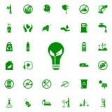 hoja en un icono del verde de la bombilla sistema universal de los iconos de Greenpeace para el web y el móvil ilustración del vector