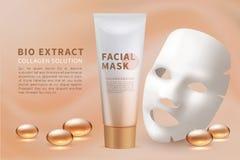 Hoja facial de la máscara Skincare cosmético y fondo natural del vector del anuncio de la belleza con la mascarilla hidratante stock de ilustración
