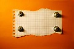 Hoja fragmentaria de un papel. Imagenes de archivo