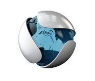 Hoja gris abstracta con el logotipo de cristal de la esfera aislado en blanco, ejemplo 3d Imágenes de archivo libres de regalías