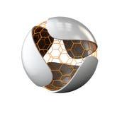 Hoja gris abstracta con el logotipo nano de la esfera aislado en blanco, ejemplo 3d Foto de archivo