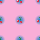Hoja inconsútil de la cereza del modelo con pendiente azul del círculo en pastel Foto de archivo