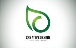 Hoja Logo Letter Design de C con el esquema verde de la hoja Imágenes de archivo libres de regalías