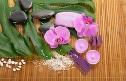 Hoja, orquídea y sistema de Monstera para el balneario imagen de archivo