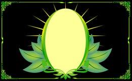Hoja oval floral de la esquina del marco del oro verde Imagen de archivo libre de regalías