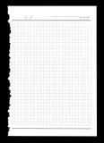 Hoja rasgada del cuaderno Imagen de archivo