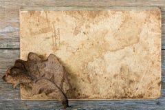 hoja seca del roble de la Aún-vida en un escritura-libro Imagen de archivo