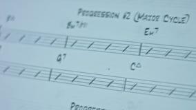 Hoja vacía musical del papel de nota con las líneas de la notación, llave del violín, muestra de la clave bluess gráficos del con almacen de video