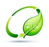 Hoja verde que recicla el icono Fotografía de archivo