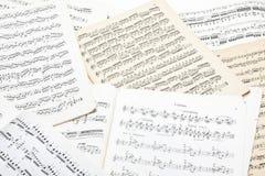 Hoja vieja de la nota de la música Fotografía de archivo