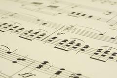 Hoja vieja de la partitura musical Fotos de archivo