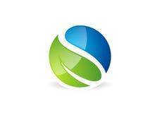 Hoja, waterdrop, logotipo, círculo, planta, primavera, símbolo del paisaje de la naturaleza, naturaleza global, icono de la letra ilustración del vector