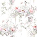 Hoja y flores, modelo inconsútil de la pintura de la acuarela en el ejemplo blanco del fondo Imagen de archivo libre de regalías